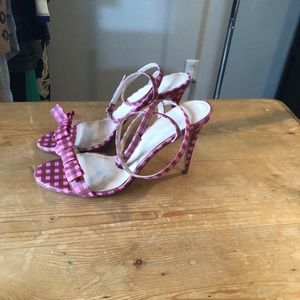 NWOT Pink Gingham bow strappy stiletto sandals